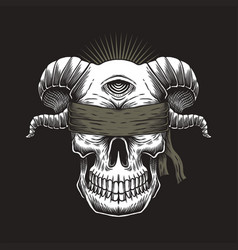 blind skull one eye vector image