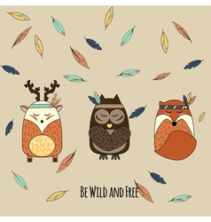 Boho animals in hand drawn style vector image
