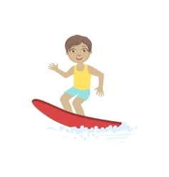 Boy Surfing On The Red Board vector