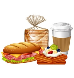 Breakfast set with waffles and bread vector image