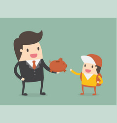 businessman giving piggy bank to his child vector image