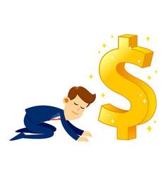 businessman worshipping money golden dollar sign vector image