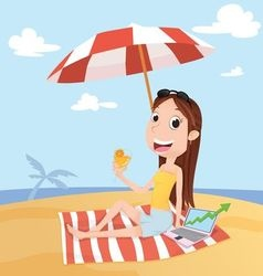 Businesswoman on the beach vector