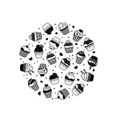 cake silhouette banner design black cupcakes vector image