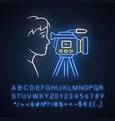 Cameraman neon light icon videorecording filming vector