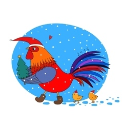 Cartoon rooster cute little chickens and vector