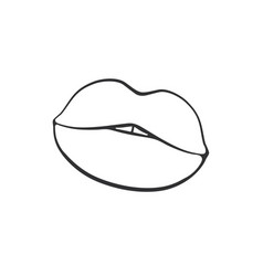 cartoon sticker with female lips vector image