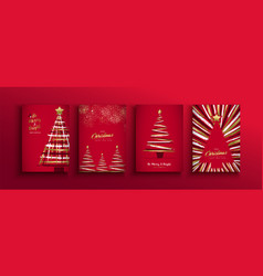 christmas new year gold red brush pine tree set vector image