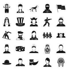 citizen icons set simple style vector image