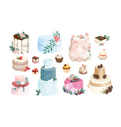 collection cakes tarts cupcakes decorated by vector image