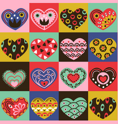 colorful squares background with vintage hearts vector image