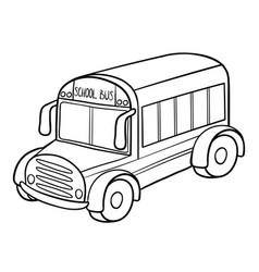 Coloring book school bus vector