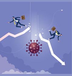 coronavirus hits stock market down vector image