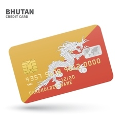 Credit card with Bhutan flag background for bank vector image