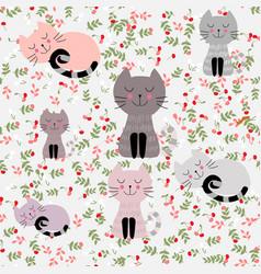 Cute sleep cat seamless pattern vector