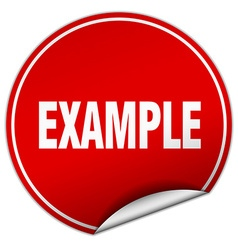 Example round red sticker isolated on white vector
