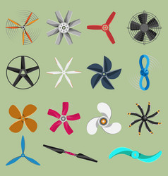 fans propellers icons isolated object vector image
