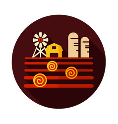 Farm landscape with barn haystack and granary vector