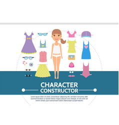 Flat female character creation round concept vector