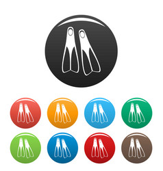 flippers icons set color vector image