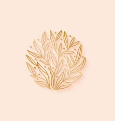 floral plant logo design outline emblem brances vector image