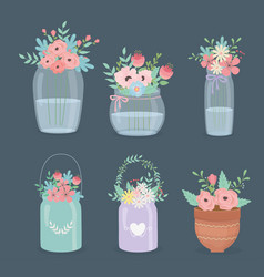 Flowers and leafs decoration in different vector