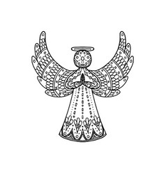 Freehand patterned angel vector
