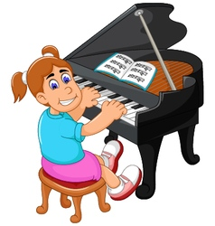 funny girl cartoon playing piano vector image
