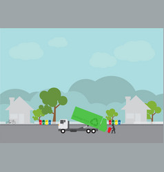 Garbage transportation truck delivery vector