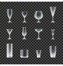 Glasses and goblets transparent icons vector