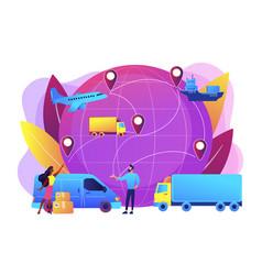Global transportation system concept vector