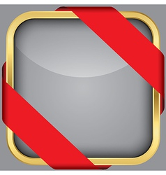 Golden blank app icon with red ribbon vector