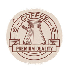 grunge round banner for coffee shop cafe bar vector image