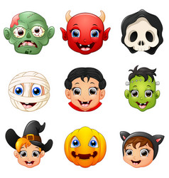 halloween character face set vector image