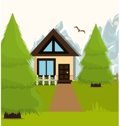 Home landscape cartoon graphic vector image