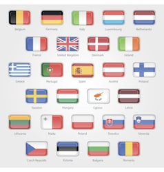 Icons depicting the flags of the EU countries vector