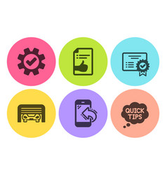 Incoming call service and approved document icons vector