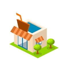 isometric bar building icon infographic vector image