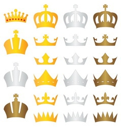 King crown gold silver bronze vector