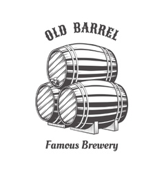 Logo design with wooden beer barrels for pab vector