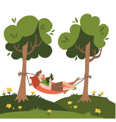man lying in a hammock and reading book hammock vector image