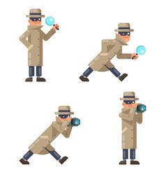 Mask spy detective cartoon magnifying glass camera vector