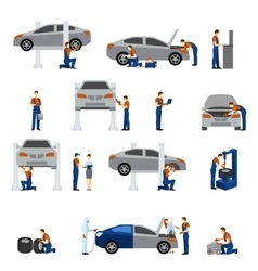 Mechanic Flat Icons vector
