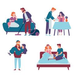 Men take care women and do housework romantic vector