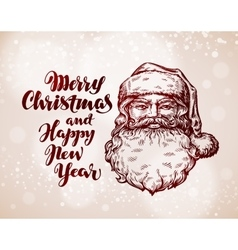 Merry Christmas greeting card Hand drawn Santa vector image vector image