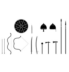 Mongol weapons and armors set mongol nomad vector