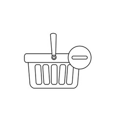 Monochrome contour with shopping basket with one vector