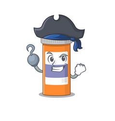 One hook hands pirate character pills drug bottle vector