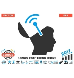 Open Brain Radio Interface Flat Icon With 2017 vector