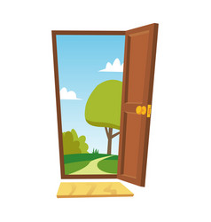 opened door cartoon flat summer landscape vector image